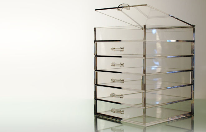 The Clear Cube - Acrylic cube makeup organizer with drawers
